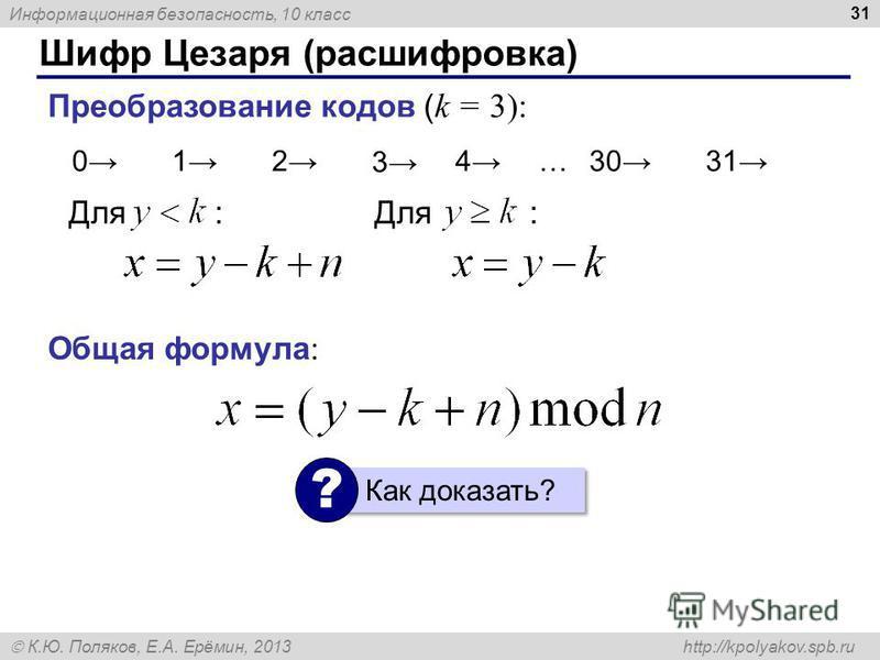 Информационная безопасность, 10 класс К.Ю. Поляков, Е.А. Ерёмин, 2013 http://kpolyakov.spb.ru Шифр Цезаря (расшифровка) 31 Для : Преобразование кодов ( k = 3): 029130312830274141…231 30 Для : Общая формула : Как доказать? ?