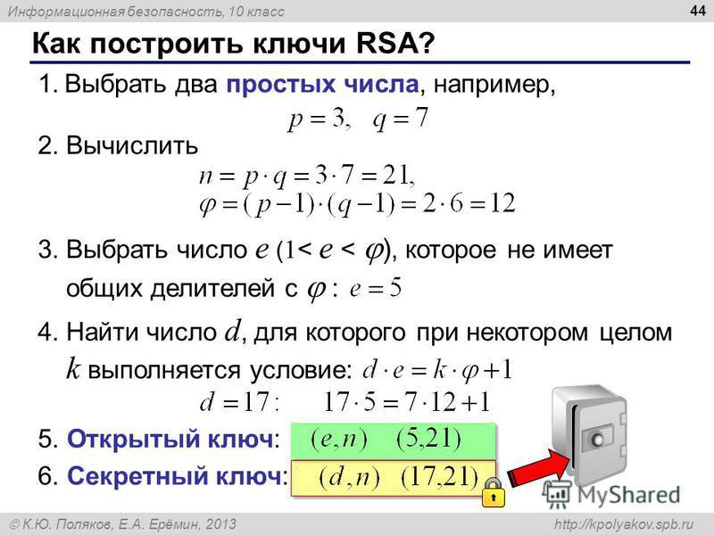 Информационная безопасность, 10 класс К.Ю. Поляков, Е.А. Ерёмин, 2013 http://kpolyakov.spb.ru Как построить ключи RSA? 44 1. Выбрать два простых числа, например, 2. Вычислить 3. Выбрать число e ( 1 < e < ), которое не имеет общих делителей с : 4. Най