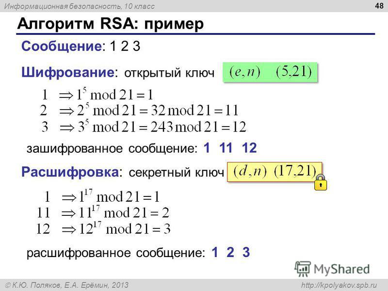 Информационная безопасность, 10 класс К.Ю. Поляков, Е.А. Ерёмин, 2013 http://kpolyakov.spb.ru Алгоритм RSA: пример 48 открытый ключ Шифрование: Сообщение: 1 2 3 зашифрованное сообщение: 1 11 12 Расшифровка: секретный ключ расшифрованное сообщение: 1