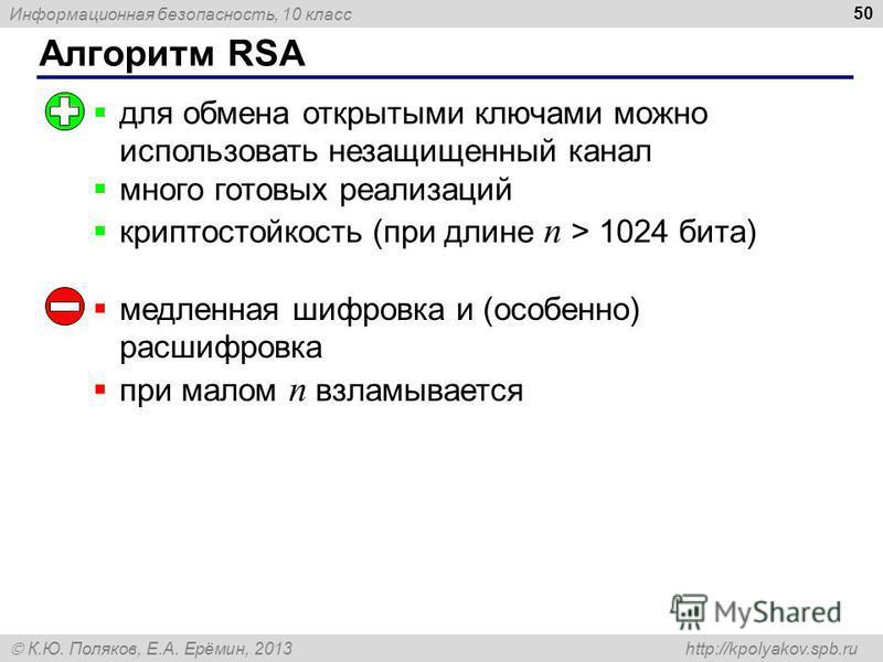 Информационная безопасность, 10 класс К.Ю. Поляков, Е.А. Ерёмин, 2013 http://kpolyakov.spb.ru Алгоритм RSA 50 для обмена открытыми ключами можно использовать незащищенный канал много готовых реализаций криптостойкость (при длине n > 1024 бита) медлен