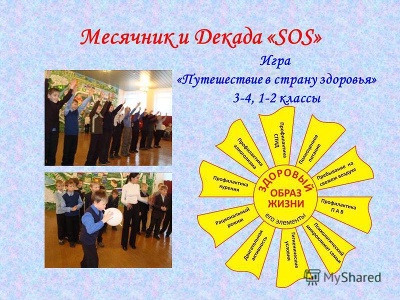 Месячник и Декада «SOS» Игра «Путешествие в страну здоровья» 3-4, 1-2 классы