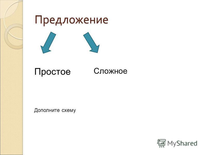 Предложение Сложное Простое Дополните схему