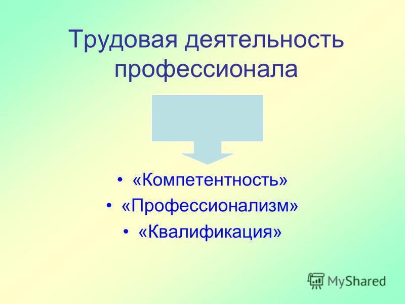 Трудовая деятельность профессионала «Компетентность» «Профессионализм» «Квалификация»