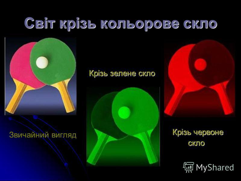Світ крізь кольорове скло Крізь зелене скло Крізь червоне скло скло Звичайний вигляд