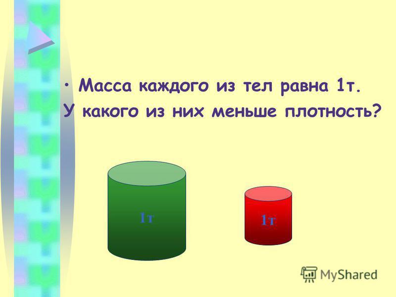 Масса каждого из тел равна 1 т. У какого из них меньше плотность? 1 т