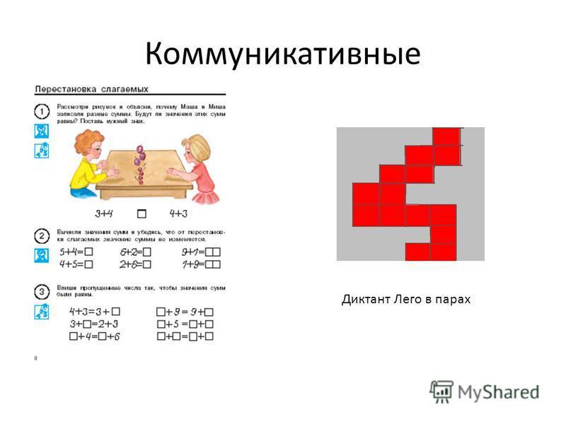 Коммуникативные Диктант Лего в парах