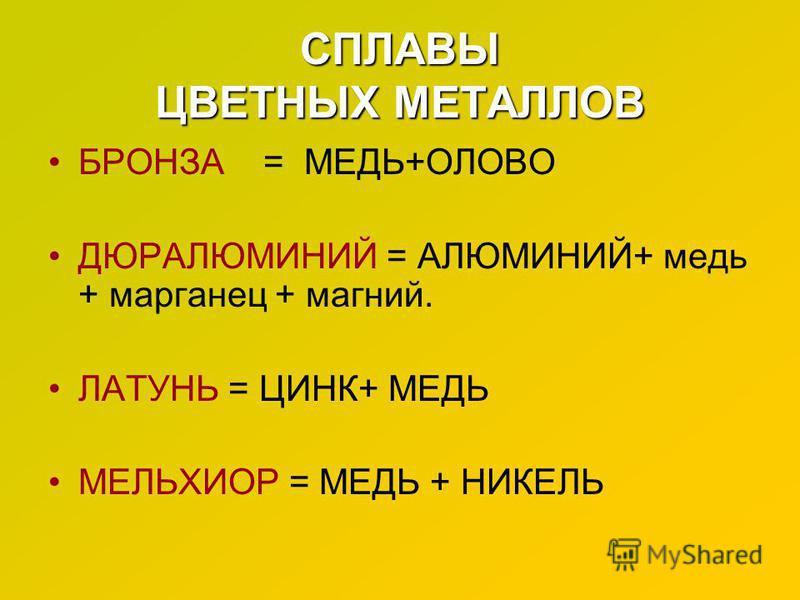 СПЛАВЫ ЦВЕТНЫХ МЕТАЛЛОВ БРОНЗА = МЕДЬ+ОЛОВО ДЮРАЛЮМИНИЙ = АЛЮМИНИЙ+ медь + марганец + магний. ЛАТУНЬ = ЦИНК+ МЕДЬ МЕЛЬХИОР = МЕДЬ + НИКЕЛЬ