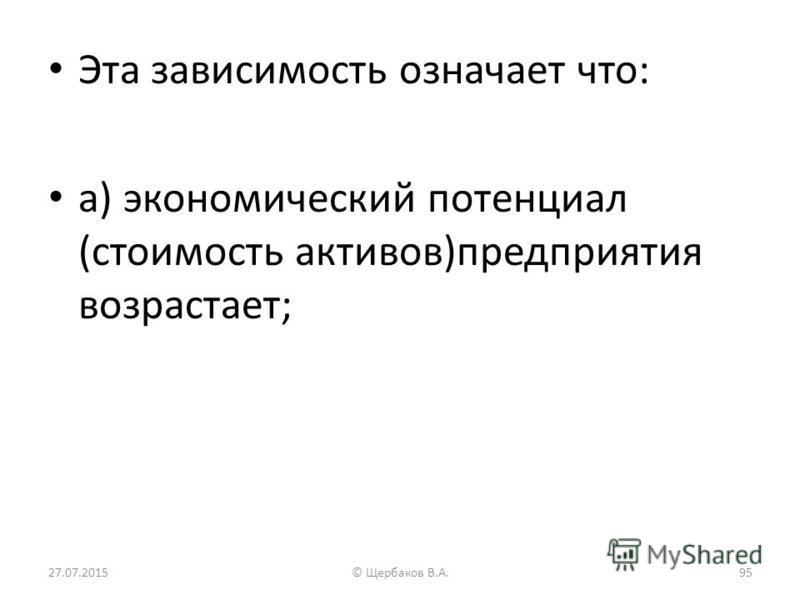 Эта зависимость означает что: а) экономический потенциал (стоимость активов)предприятия возрастает; 27.07.201595© Щербаков В.А.
