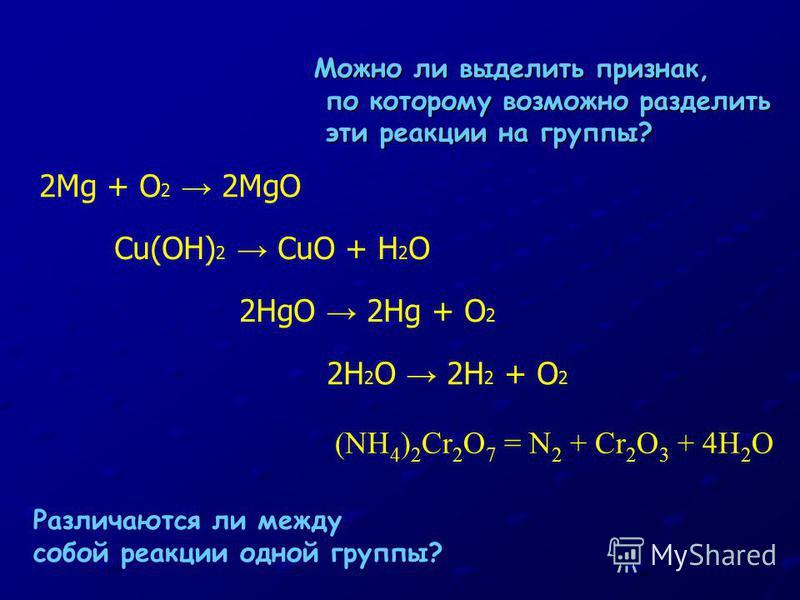 2Mg + O 2 2MgO Cu(OH) 2 CuO + H 2 O 2HgO 2Hg + O 2 Можно ли выделить признак, по которому возможно разделить по которому возможно разделить эти реакции на группы? эти реакции на группы? Различаются ли между собой реакции одной группы? 2H 2 O 2H 2 + O