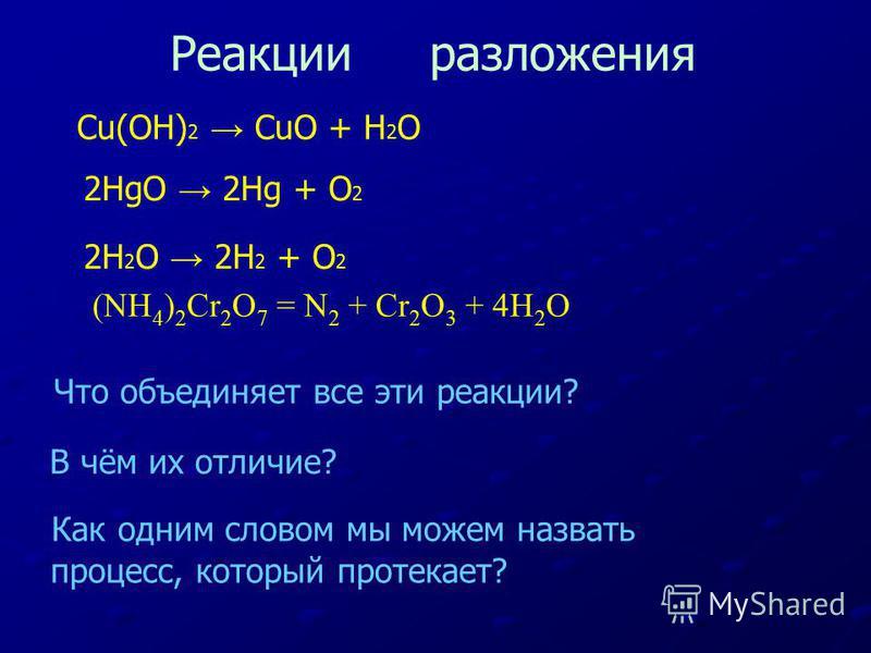 Что объединяет все эти реакции? В чём их отличие? Как одним словом мы можем назвать процесс, который протекает? Реакции разложения Cu(OH) 2 CuO + H 2 O 2HgO 2Hg + O 2 2H 2 O 2H 2 + O 2 (NН 4 ) 2 Cr 2 О 7 = N 2 + Cr 2 О 3 + 4Н 2 О