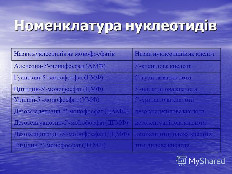 Номенклатура нуклеотидів Назви нуклеотидів як монофосфатівНазви нуклеотидів як кислот Аденозин-5'-монофосфат (АМФ)5'-аденілова кислота Гуанозин-5'-монофосфат (ГМФ)5'-гуанілова кислота Цитидин-5'-монофосфат (ЦМФ)5'-цитидилова кислота Уридин-5'-монофос