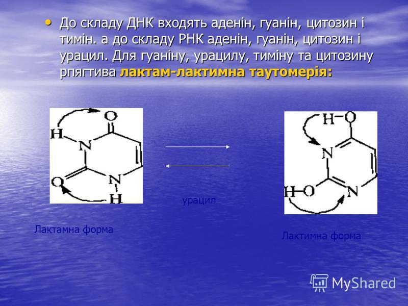 До складу ДНК входять аденін, гуанін, цитозин і тимін. а до складу РНК аденін, гуанін, цитозин і урацил. Для гуаніну, урацилу, тиміну та цитозину рпягтива лактам-лактимна таутомерія: До складу ДНК входять аденін, гуанін, цитозин і тимін. а до склад