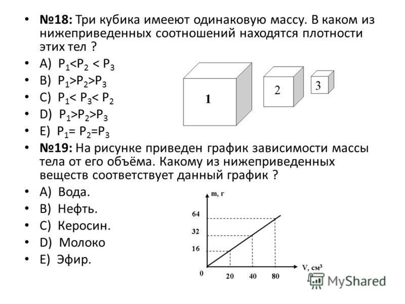 18: Три кубика имеют одинаковую массу. В каком из нижеприведенных соотношений находятся плотности этих тел ? А) Р 1 <Р 2 < Р 3 B) Р 1 >Р 2 >Р 3 C) Р 1 < Р 3 < Р 2 D) Р 1 >Р 2 >Р 3 E) Р 1 = Р 2 =Р 3 19: На рисунке приведен график зависимости массы тел