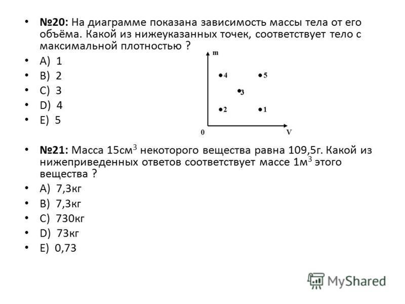 20: На диаграмме показана зависимость массы тела от его объёма. Какой из нижеуказанных точек, соответствует тело с максимальной плотностью ? А) 1 B) 2 C) 3 D) 4 E) 5 21: Масса 15 см 3 некоторого вещества равна 109,5 г. Какой из нижеприведенных ответо