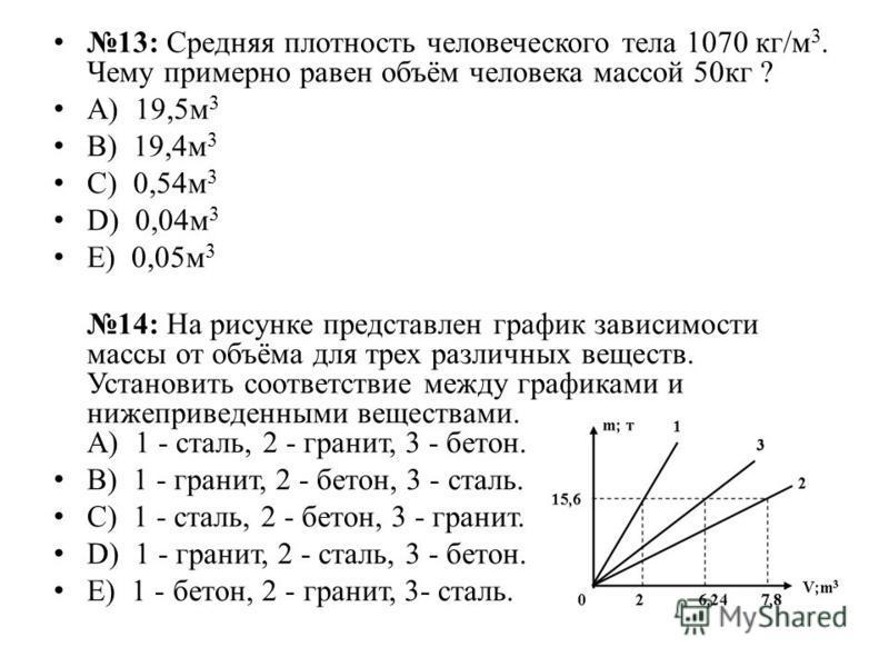 13: Средняя плотность человеческого тела 1070 кг/м 3. Чему примерно равен объём человека массой 50 кг ? А) 19,5 м 3 B) 19,4 м 3 C) 0,54 м 3 D) 0,04 м 3 E) 0,05 м 3 14: На рисунке представлен график зависимости массы от объёма для трех различных вещес