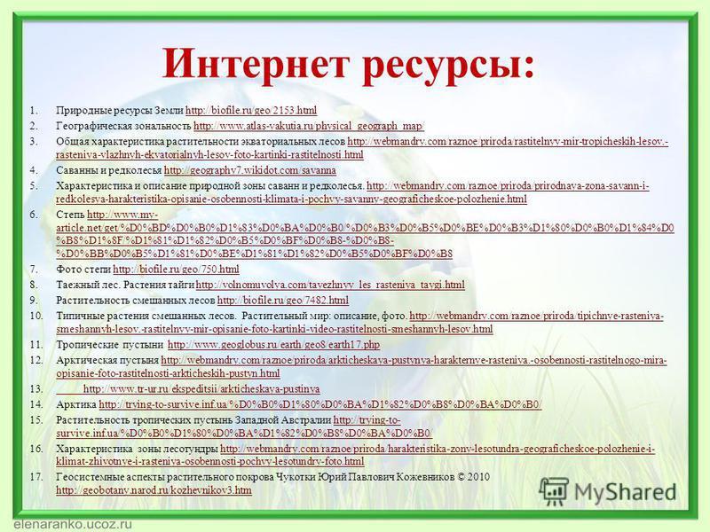 Интернет ресурсы: 1. Природные ресурсы Земли http://biofile.ru/geo/2153.htmlhttp://biofile.ru/geo/2153. html 2. Географическая зональность http://www.atlas-yakutia.ru/physical_geograph_map/http://www.atlas-yakutia.ru/physical_geograph_map/ 3. Общая х