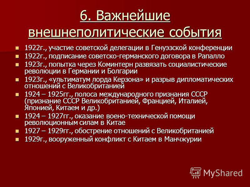 6. Важнейшие внешнеполитические события 1922 г., участие советской делегации в Генуэзской конференции 1922 г., участие советской делегации в Генуэзской конференции 1922 г., подписание советско-германского договора в Рапалло 1922 г., подписание советс