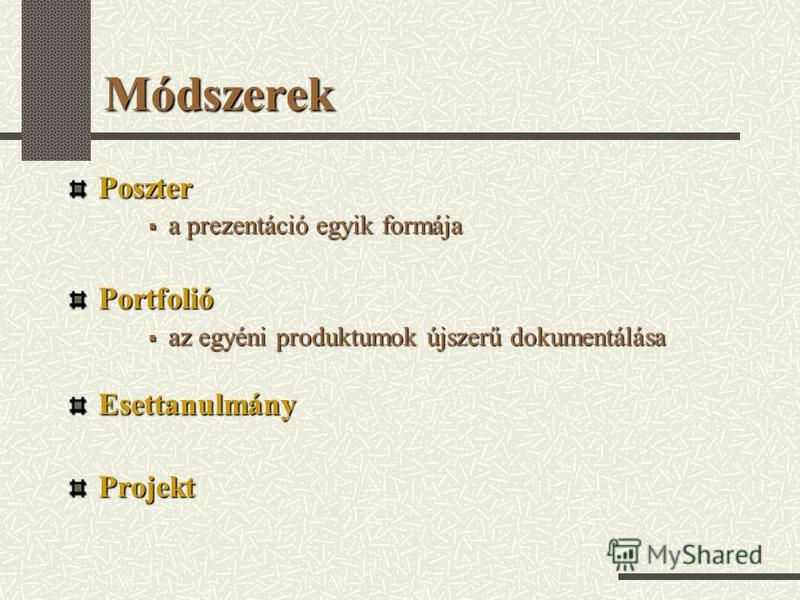 Módszerek Poszter a prezentáció egyik formája a prezentáció egyik formájaPortfolió az egyéni produktumok újszerű dokumentálása az egyéni produktumok újszerű dokumentálásaEsettanulmányProjekt