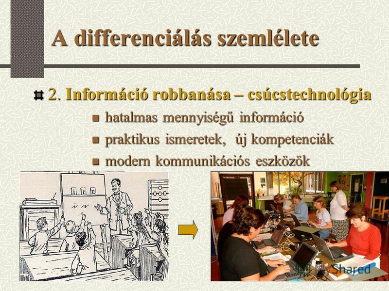 A differenciálás szemlélete 2. Információ robbanása – csúcstechnológia hatalmas mennyiségű információ hatalmas mennyiségű információ praktikus ismeretek, új kompetenciák praktikus ismeretek, új kompetenciák modern kommunikációs eszközök modern kommun