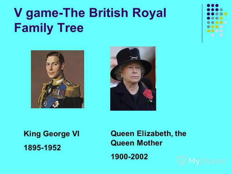 V game-The British Royal Family Tree King George VI 1895-1952 Queen Elizabeth, the Queen Mother 1900-2002
