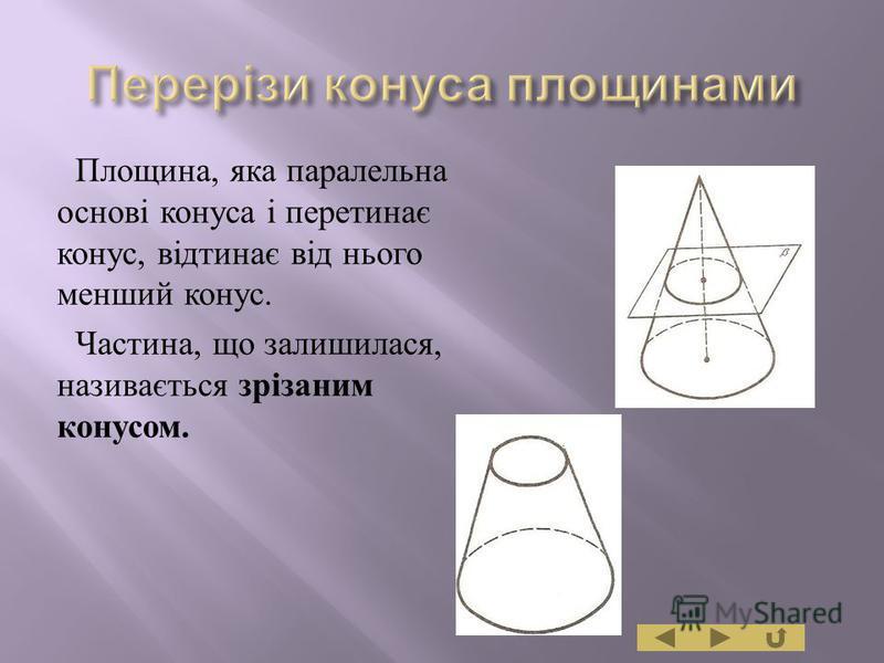Площина, яка паралельна основі конуса і перетинає конус, відтинає від нього менший конус. Частина, що залишилася, називається зрізаним конусом.