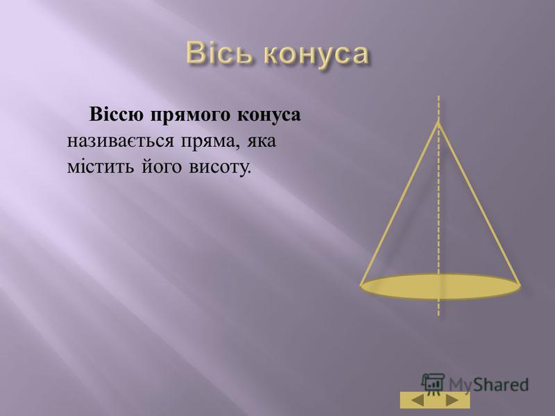 Віссю прямого конуса називається пряма, яка містить його висоту.