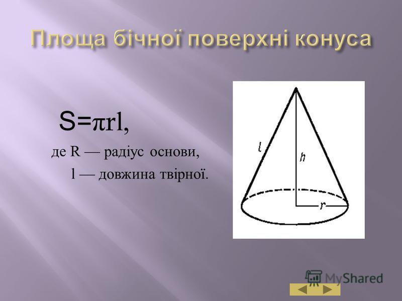 S= π rl, де R радіус основи, l довжина твірної.