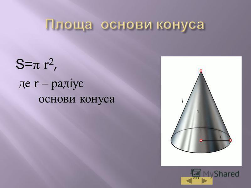 S= π r 2, де r – радіус основи конуса