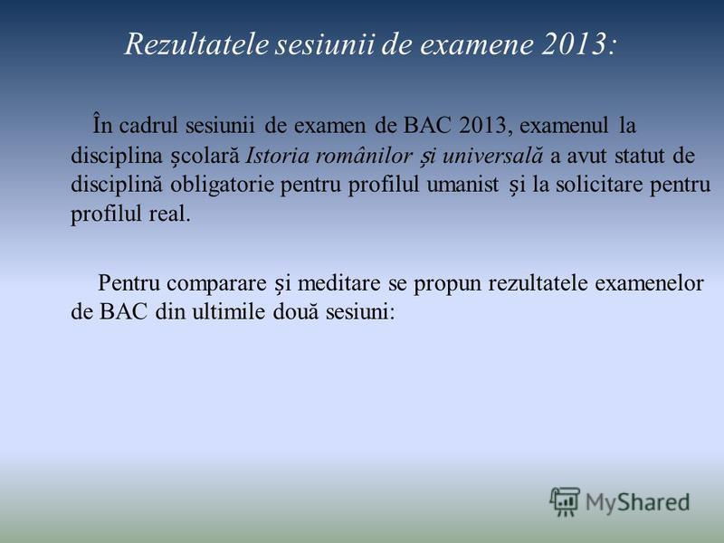 Rezultatele sesiunii de examene 2013: În cadrul sesiunii de examen de BAC 2013, examenul la disciplina colară Istoria românilor i universală a avut statut de disciplină obligatorie pentru profilul umanist i la solicitare pentru profilul real. Pentru