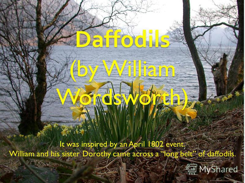 Daffodils (by William Wordsworth) It was inspired by an April 1802 event. William and his sister Dorothy came across a long belt of daffodils.