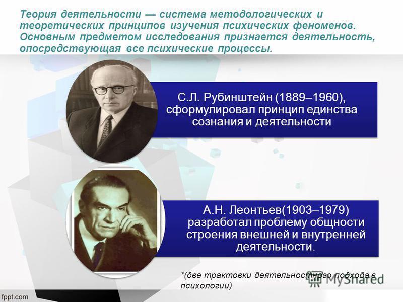 Теория деятельности система методологических и теоретических принципов изучения психических феноменов. Основным предметом исследования признается деятельность, опосредствующая все психические процессы. С.Л. Рубинштейн (1889–1960), сформулировал принц