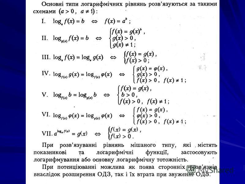 Логарифмічним називається рівняння, яке містить змінну під знаком логарифма При розв'язування логарифмічних рівнянь необхідно шукати ОДЗ або робити перевірку