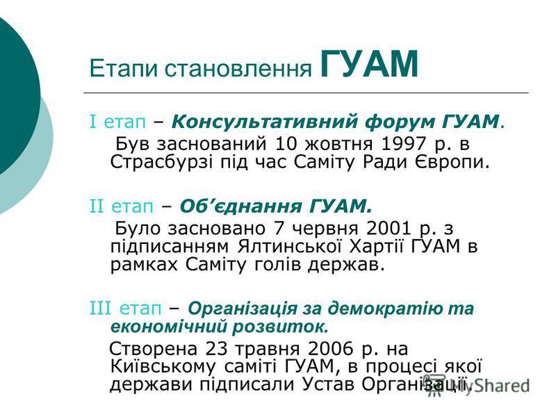Етапи становлення ГУАМ I етап – Консультативний форум ГУАМ. Був заснований 10 жовтня 1997 р. в Страсбурзі під час Саміту Ради Європи. II етап – Обєднання ГУАМ. Було засновано 7 червня 2001 р. з підписанням Ялтинської Хартії ГУАМ в рамках Саміту голів