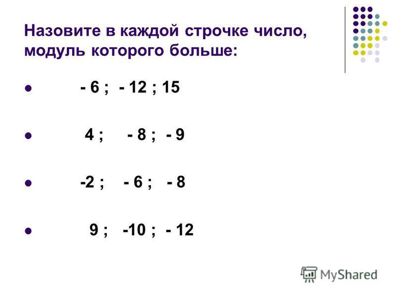 Назовите в каждой строчке числов, модуль которого больше: - 6 ; - 12 ; 15 4 ; - 8 ; - 9 -2 ; - 6 ; - 8 9 ; -10 ; - 12