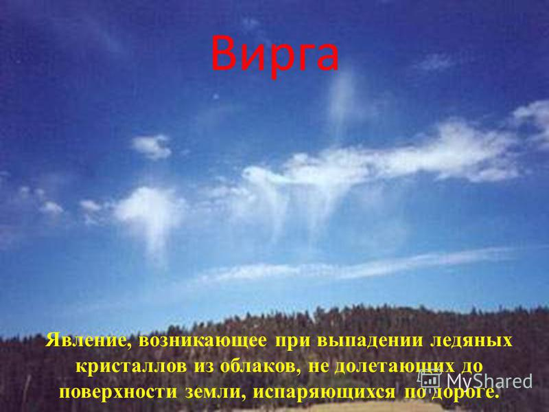 Вирга Явление, возникающее при выпадении ледяных кристаллов из облаков, не долетающих до поверхности земли, испаряющихся по дороге.