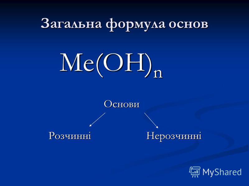 Тема: Хімічні властивості основ Мета уроку: проконтролювати знання учнів про склад основ; вивчити хімічні властивості основ; активізувати пізнавальну діяльність учнів на всіх етапах уроку; розвивати їх логічне мислення та творчі здібності; виховувати