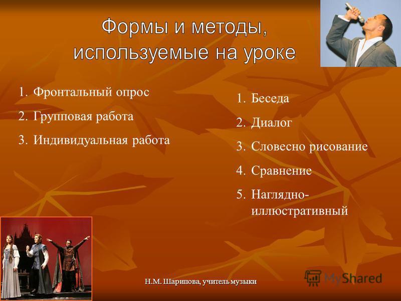 Н.М. Шарипова, учитель музыки 1. Фронтальный опрос 2. Групповая работа 3. Индивидуальная работа 1. Беседа 2. Диалог 3. Словесно рисование 4. Сравнение 5.Наглядно- иллюстративный