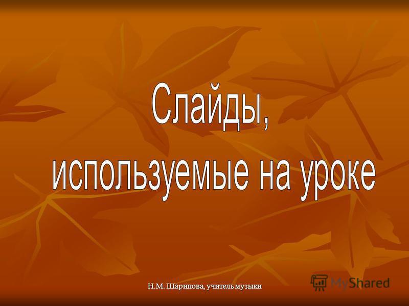 Н.М. Шарипова, учитель музыки