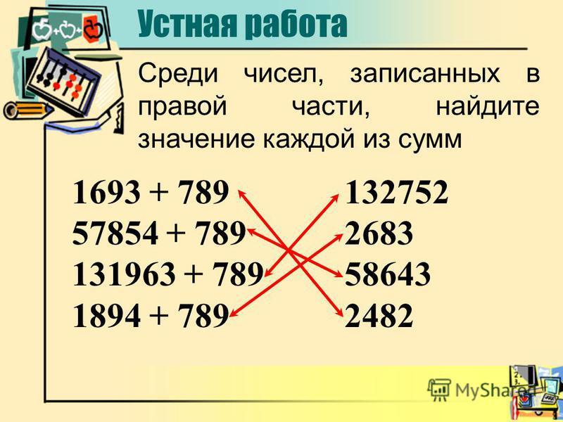 1693 + 789 57854 + 789 131963 + 789 1894 + 789 132752 2683 58643 2482 Среди чисел, записанных в правой части, найдите значение каждой из сумм Устная работа