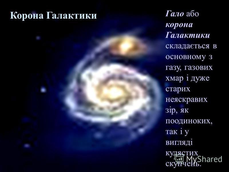 Корона Галактики Гало або корона Галактики складається в основному з газу, газових хмар і дуже старих неяскравих зір, як поодиноких, так і у вигляді кулястих скупчень.