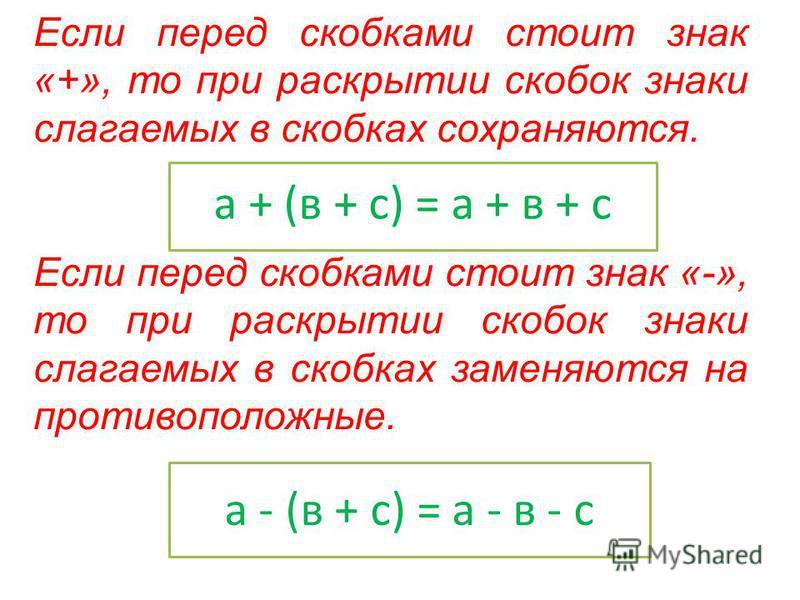 Если перед скобками стоит знак «+», то при раскрытии скобок знаки слагаемых в скобках сохраняются. Если перед скобками стоит знак «-», то при раскрытии скобок знаки слагаемых в скобках заменяются на противоположные. а + (в + с) = а + в + с а - (в + с