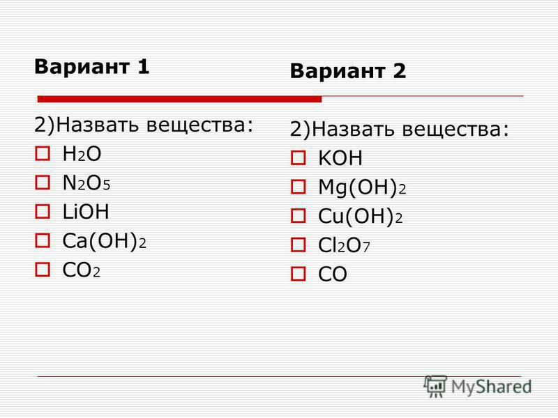 Вариант 1 2)Назвать вещества: H 2 O N 2 O 5 LiOH Ca(OH) 2 CO 2 Вариант 2 2)Назвать вещества: KOH Mg(OH) 2 Cu(OH) 2 Cl 2 O 7 CO