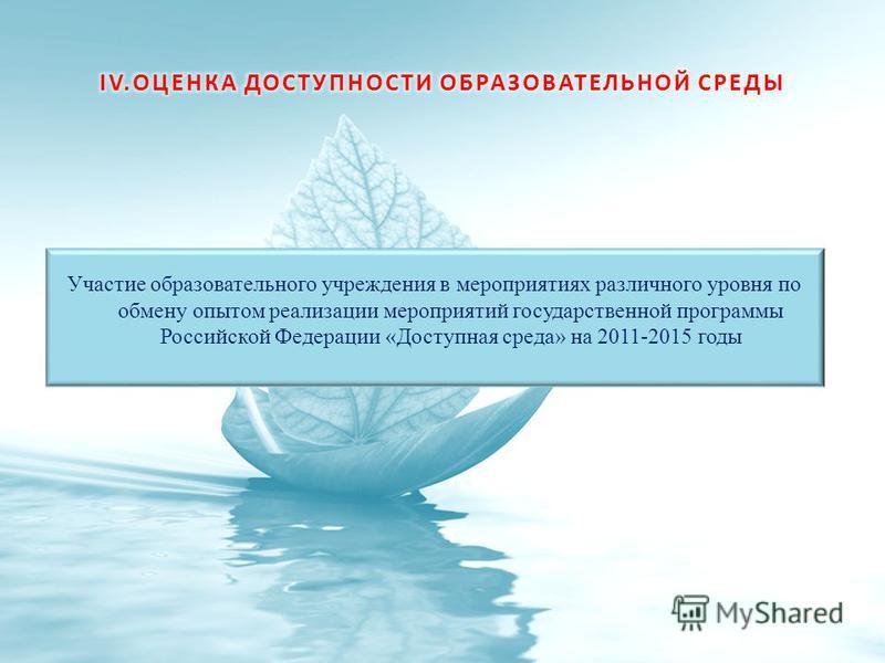 Участие образовательного учреждения в мероприятиях различного уровня по обмену опытом реализации мероприятий государственной программы Российской Федерации «Доступная среда» на 2011-2015 годы