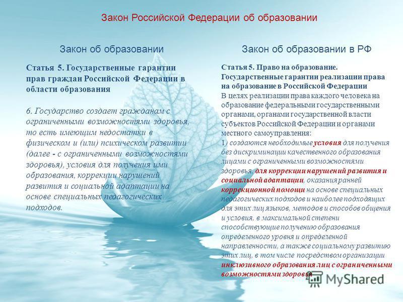 Закон Российской Федерации об образовании Закон об образовании Статья 5. Государственные гарантии прав граждан Российской Федерации в области образования 6. Государство создает гражданам с ограниченными возможностями здоровья, то есть имеющим недоста