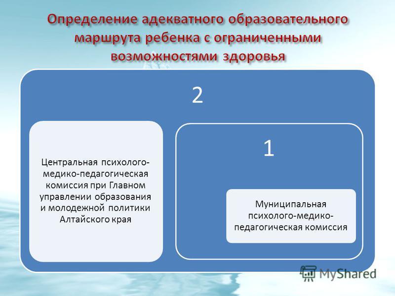 2 Центральная психолого- медико-педагогическая комиссия при Главном управлении образования и молодежной политики Алтайского края 1 Муниципальная психолого-медико- педагогическая комиссия