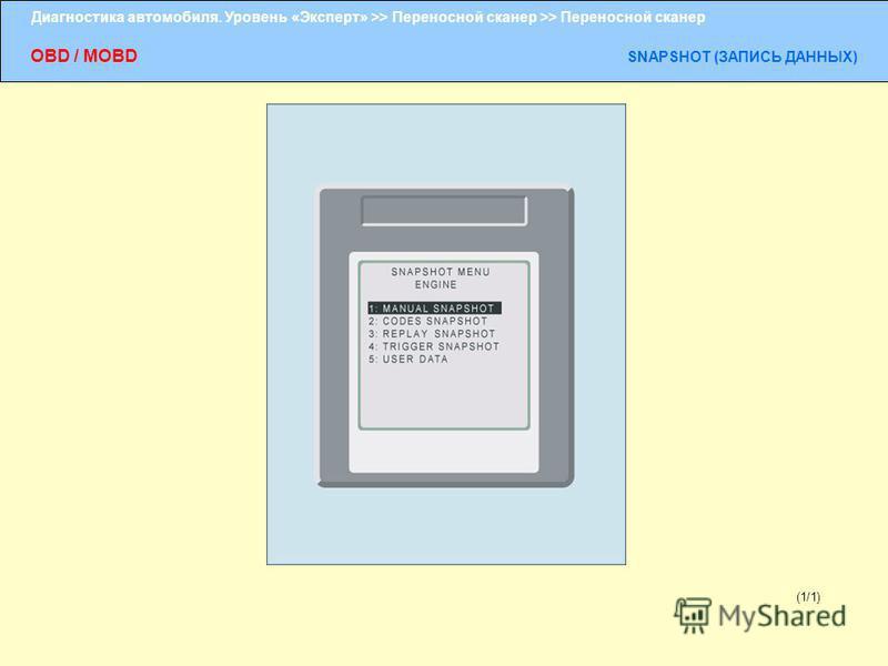 Диагностика автомобиля. Уровень «Эксперт» >> Переносной сканер >> Переносной сканер OBD / MOBD SNAPSHOT (ЗАПИСЬ ДАННЫХ) (1/1)