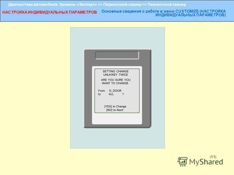 Диагностика автомобиля. Уровень «Эксперт» >> Переносной сканер >> Переносной сканер НАСТРОЙКА ИНДИВИДУАЛЬНЫХ ПАРАМЕТРОВ Основные сведения о работе в меню CUSTOMIZE (НАСТРОЙКА ИНДИВИДУАЛЬНЫХ ПАРАМЕТРОВ) (1/1)