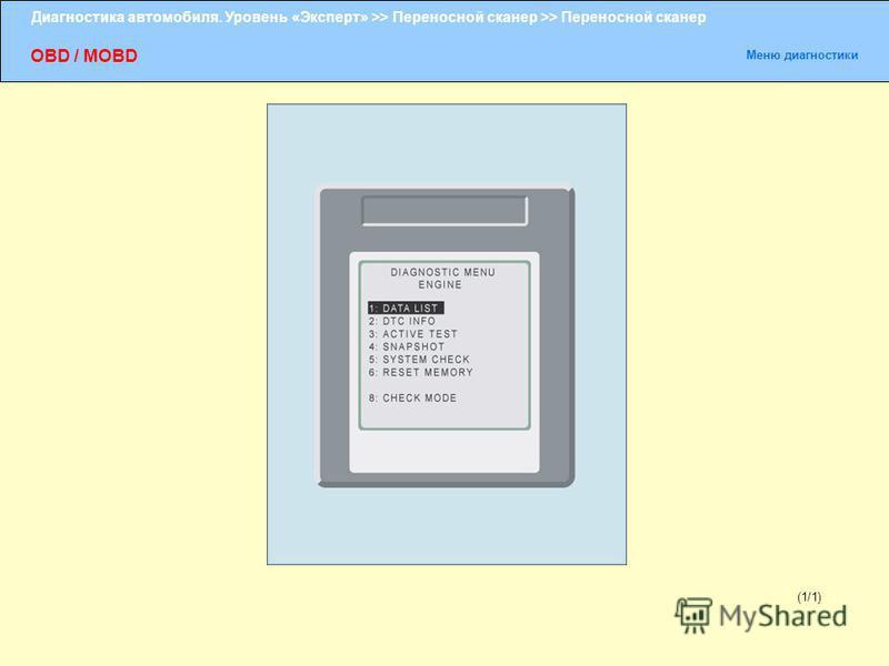 Диагностика автомобиля. Уровень «Эксперт» >> Переносной сканер >> Переносной сканер OBD / MOBD Меню диагностики (1/1)