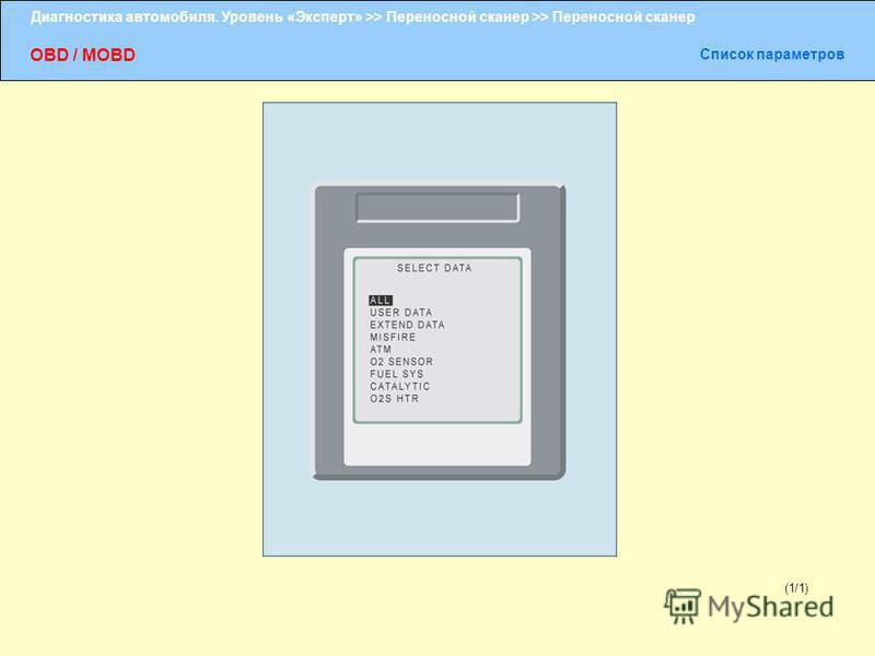 Диагностика автомобиля. Уровень «Эксперт» >> Переносной сканер >> Переносной сканер OBD / MOBD Список параметров (1/1)