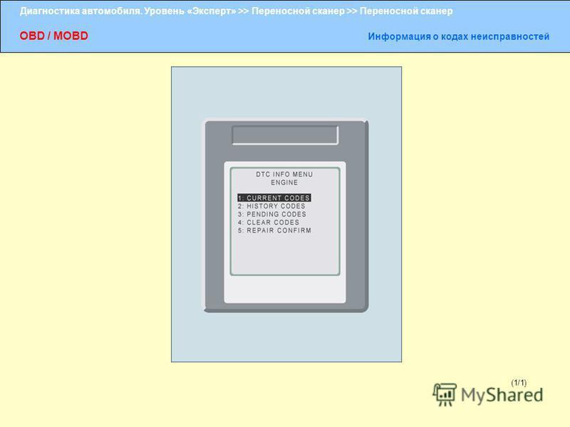 Диагностика автомобиля. Уровень «Эксперт» >> Переносной сканер >> Переносной сканер OBD / MOBD Информация о кодах неисправностей (1/1)